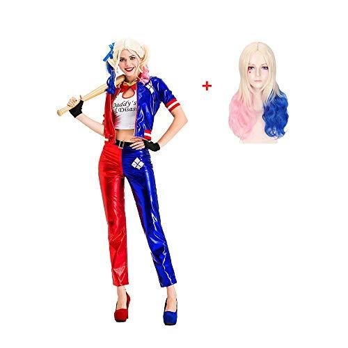 LJ123 Disfraz de Harley Quinn para Mujer, Traje de Payaso Azul y Rojo con Pelucas para Cosplay, Mejor Regalo de Rendimiento