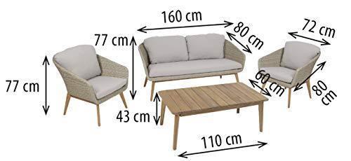 Greemotion Murcia Loungemöbel Set 4-teilig für Garten und Terrasse mit Tisch aus Holz, braun, 1 x 1 x 1 cm - 2