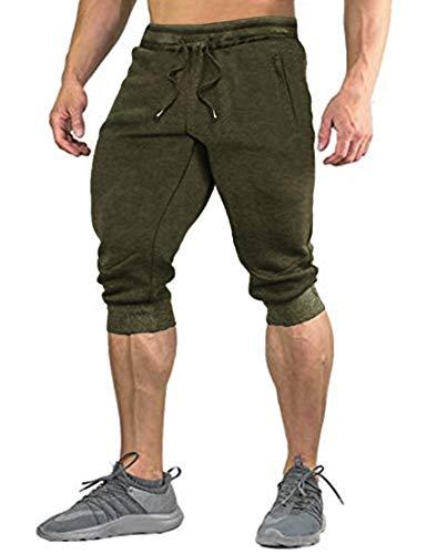 COOFANDY Herren Hose 3/4 Jogginghose Sporthose Traininghose Herren Shorts Freizeit Shorts Elastisch Atmungsaktiv Hose, Armeegrün, XL