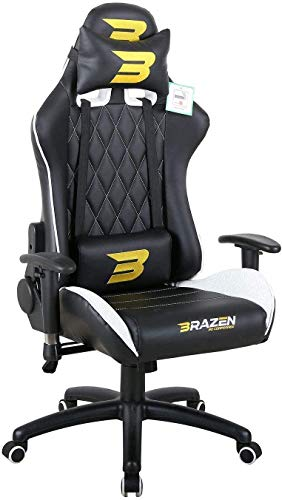 BraZen 18051 Phantom Elite PC Gaming Chair-White