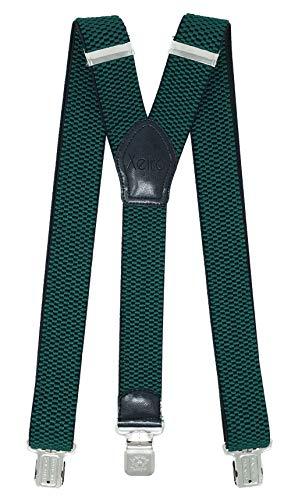 Xeira Hochwertige Hosenträger für Herren und Damen Extra Stark und Extra Lang in UNI & Gestreiften Design mit 3 XL ADLER Clips 4cm Breit (Standard, Grün)