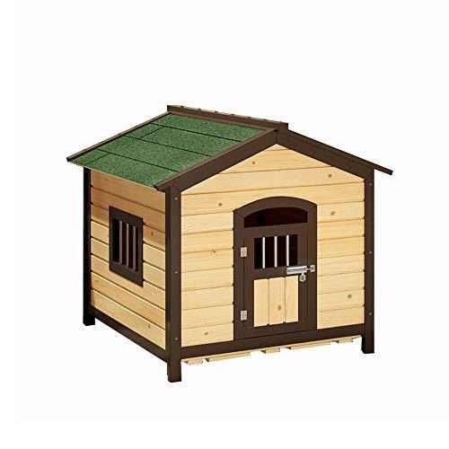 Animalerie Pet House, chenil en Bois Massif carbonisé en Plein air Chat litière Chien Cage imperméable Protection Solaire Anti-Corrosion Petite Maison