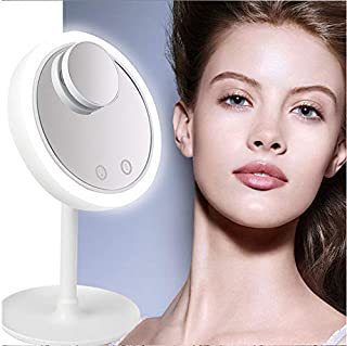 YASE-king Tabletop Makeup Mirror, LED Lighted Vanity Mirror Spot Mirror Touch Screen 180° Rotation Cosmetic Mirror for Mak...