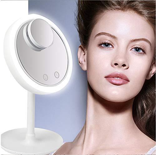 ZGQA-GQA Tablero de la mesa de maquillaje Espejo, Espejo de baño con luz LED espejo del punto de la pantalla táctil 180 ° de rotación del espejo cosmético de afeitar Maquillaje Y Cuidado facial, blanc