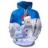 Ucoolcc Kapuzenpullover Cute Christmas Snowman 3D Digitaldruck Unisex Pullover Tasche Kordelzug Sweater Loose Jacket Hoodie Für 2-13 Jahre Kinder