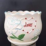miwaimao, vaso da fiori in ceramica, con vassoio per scrivania, colore verde, semplice vaso da fiori