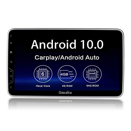 Dasaita 10.2' Wireless Carplay Double Din Stereo bluetooth Rotatable Android 10 GPS Navigation Head Unit Car Radio Multimedia Music Video Player IPS Screen DSP 4G 64G Android Auto PX6 1280x720 HD