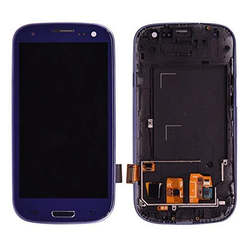Pantallas LCD para teléfonos móviles Pantalla LCD Pantalla táctil Digitalizador + Botton Home Botton Montaje Completo Bisel Frame/Fit para Samsung Galaxy S3 I9300 (Color : Blue)