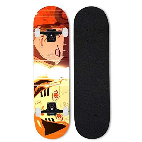 Totots Monopatín de arce Uzumaki Naruto, monopatín completo de 31 pulgadas HY  GA Hinata, Anime Double Tilt Skateboard Naruto, Principiante Scooter de cuatro ruedas, Skateboard de deportes al aire li