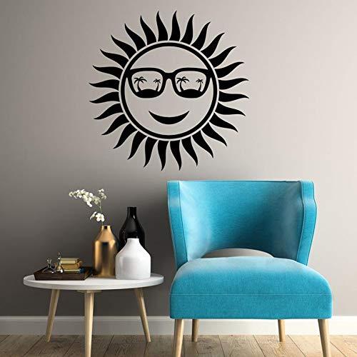 Sol Calcomanía de pared Gafas de sol Positivo Relajado Estilo de playa Pegatinas de pared para dormitorio Sala de estar Decoración del hogar Mural al aire libre A2 57x57cm