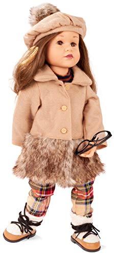 Götz 2066464 Happy Kidz Frieda Puppe - 50 cm große Multigelenk-Stehpuppe mit braunen Haaren und braunen Augen - 8-teiliges Set