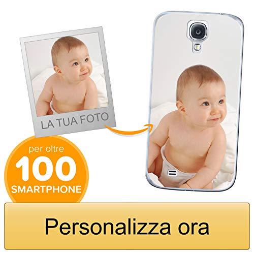 Coverpersonalizzate.it Cover Personalizzata per Samsung Galaxy S4con la Tua Foto, Immagine o Scritta - Custodia Morbida in TPU Gel Trasparente - Stampa di altissima qualità