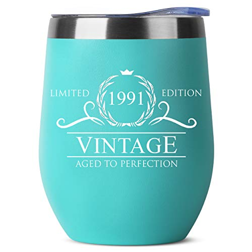 30th Birthday Gifts for Women - 1991 12 oz Mint Stemless Wine Tumbler - 30th Birthday Decorations for Women - Birthday Gifts for 30 Year Old Women Mom - Funny 30th Birthday Idea Presents for Women