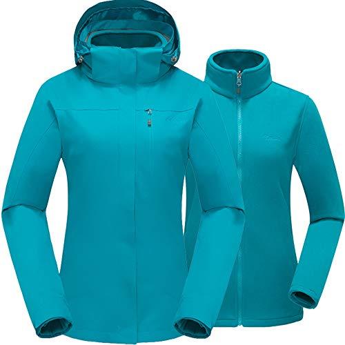 Cleesmil Damen 3 in 1 Wasserdicht Outdoor Skijacke Winterjacke mit Abnehmbare Fleecefutter und Kapuze Winddichte Bergmantel Pfauenblau (XL)