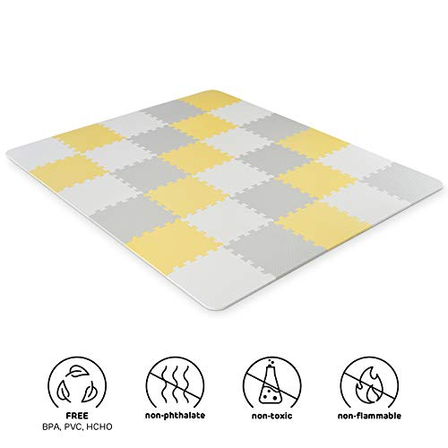 Kinderkraft Spielmatte LUNO, Erlebnismatte, Puzzlematte, Krabbelmatte, aus Schaumstoff, 30 Puzzleteile im Set, für Kinder ab 10 Monate, Gelb