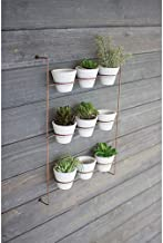 Kalalou H3218 S/9 White WASH Clay POTS ON Copper Finish Wall Rack