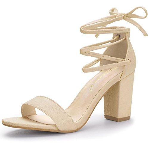 Allegra K Damen Offene Zehe Klobige Ferse Schnüren Sandalen Sandalette Beige 41