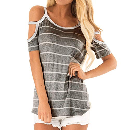 Buy Lovor Women's Flowy O-Neck Sexy Off The Shoulder Short Sleeve Striped Tank Tops Camisole T Shirt...