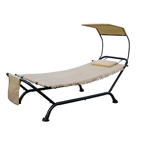 Kozyard Ailsa Outdoor Patio Hammock with Stand, Pillow, Storage Pockets (Beige Canvas and Black Frame)