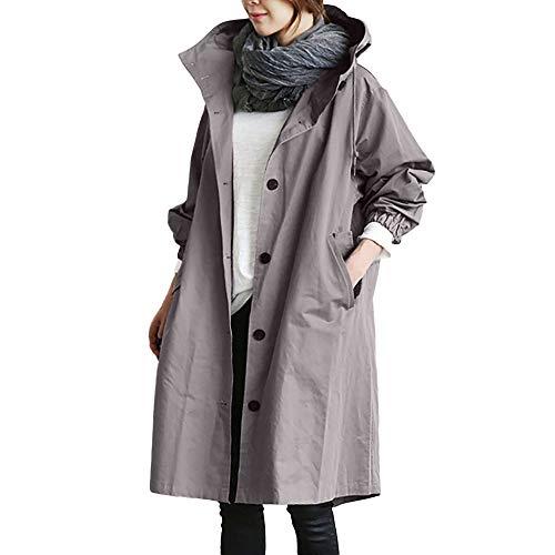 FRAUIT Elegante Mantel Winter Damen Lang Lose Mit Kapuze Windjacke Bequemer Frauen Kurzmantel Trenchcoat (M, Grau)