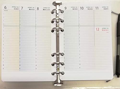 Ricambio per oganizer A6 formato personal 10x17cm - con 6 anelli (settimanale con orari)