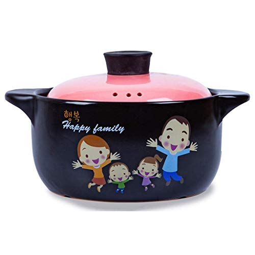 LSNLNN Ollas, Cocinar, Cacerola de Cerámica Redonda con Tapa Familia Lenta Estofado de Gran Capacidad Sopa Resistente Al Calor Japonés Caliente 3L Arcilla de Vitrocerámica Rosa