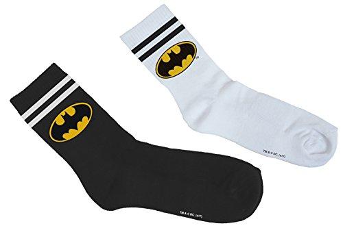 MERCHCODE Batman Double Pack Socken, Black/White, 35-38