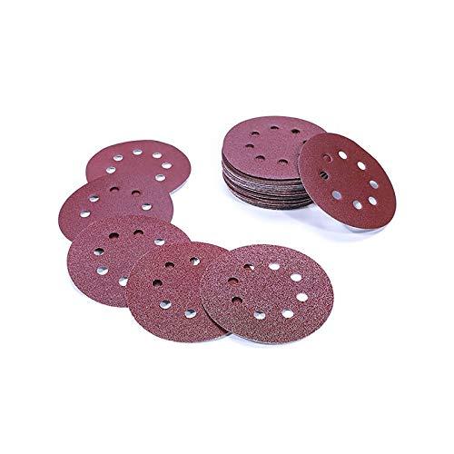 Discos de lija lijar lijas de pulir Disco de papel para lijadoras excéntricas - ø 125 mm 8 agujeros - 50 Pieza Grano cada 5 x 40/60/80/100/120/180/240/320/400/800