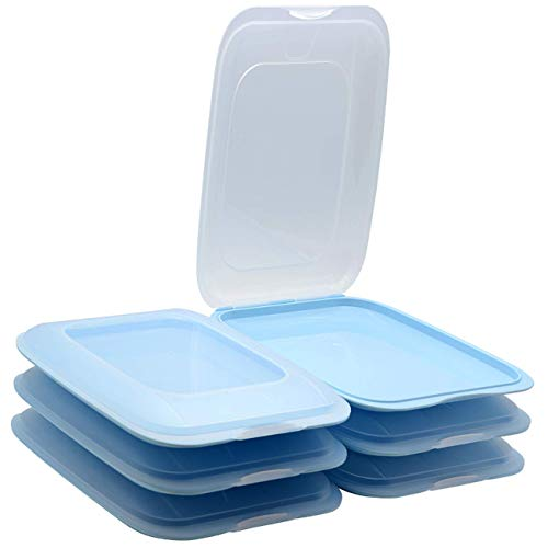ENGELLAND - Hochwertige stapelbare Aufschnitt-Boxen, Frischhaltedose für Aufschnitt. Wurst Behälter. Perfekte Ordnung im Kühlschrank, 6 Stück Farbe Hellblau, Maße 25 x 17 x 3.3 cm