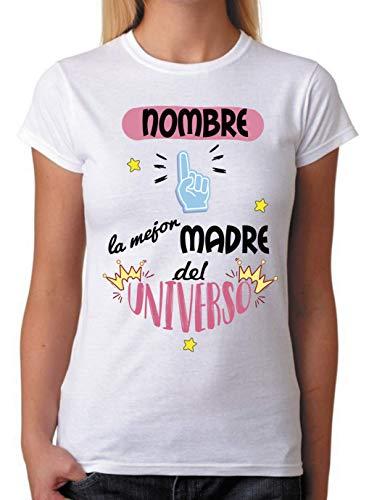 FUNNY CUP Camiseta Personalizable Nombre Madre la Mejor del Universo. Camiseta para Personalizar mamás. (L)