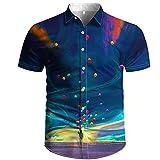 Ocuhiger Camisa Hawaiana De Los Hombres Vista Posterior del Personaje Camisas De Cuello Redondo Verano 3D Estampado De Luna Camisetas De Manga Corta Blusa De Playa Informal Azul