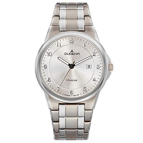DUGENA Herren-Armbanduhr 4460869 Gent, Quarz, silbernes Zifferblatt, Titangehäuse, Mineralglas, Titanarmband, Drückerfaltschließe, 5 bar