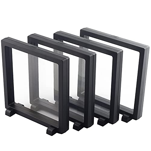 """WISHDIAM 4 Pack 3D Floating Display Case 4.3x4.3x0.8"""" Floating Coin Display Frame for AA Medallions, Jewelry, Fossil Floating Display Frame Set"""