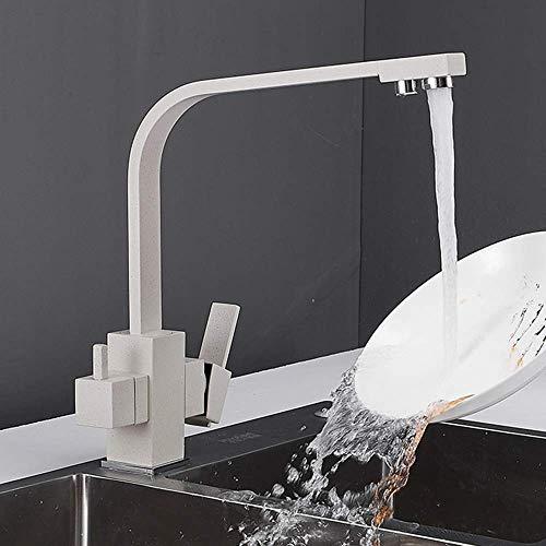 YLLN G Grifo de Cocina de 3 vías para Filtro de Agua Grifo Mezclador para Fregadero de Agua Potable 360 & deg;Grifo Monomando Giratorio 3 en 1 Granito Beige