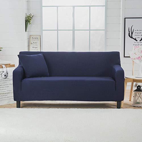 Cubierta para sofá con Cuerda de fijación,Funda de sofá elástica gruesa de color sólido, para todas las estaciones, universal, todo incluido, cojín para sofá, funda de sofá, toalla-Bali Blue_190-230c