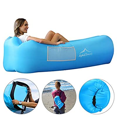 AlphaBeing Inflatable Lounger - Best Air Lounger for Travelling, Camping, Hiking - Ideal Inflatable Couch for Pool and Beach Parties - Perfect Air Chair for Picnics or Festivals (Aqua Blue)