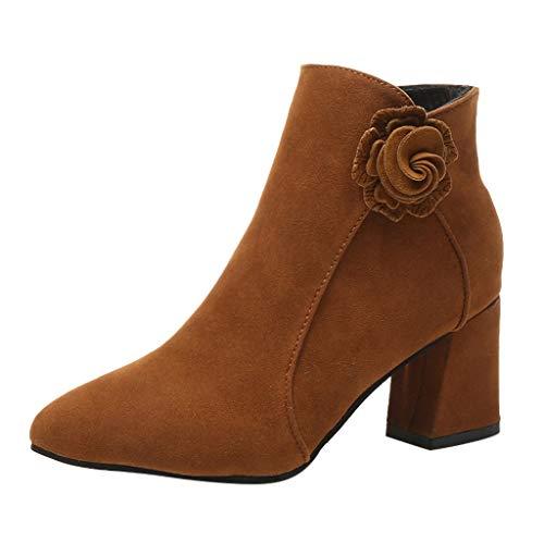ROVNKDMujer Fashion Solid Tobillo Cremallera Caliente Spitzschuh Beiläufige Cargas Zapatos Leuchtende 35-40 marrón 39