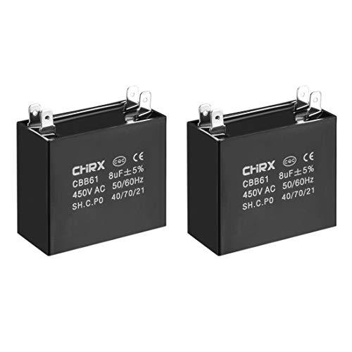 sourcing map 2 Stück CBB61 Betriebskondensator 450V AC 8uF Doppelt Pol für Deckenventilator de