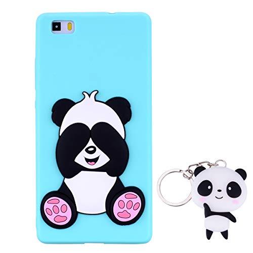 HopMore Panda Funda para Huawei P8 Lite 2016 Silicona con Diseño 3D Divertidas Carcasa TPU Ultrafina Case Antigolpes Caso Protección Cover Dibujos Animados Gracioso con Llavero - Verde