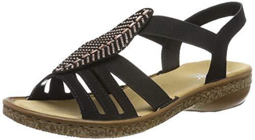 Rieker Damen 628G6-00 Geschlossene Sandalen, Schwarz (Schwarz 00), 37 EU