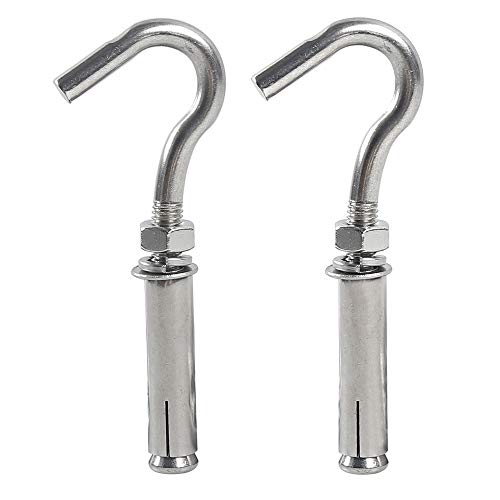 Open Expansion Hook 5pcs M6 304 Stainless Steel Cup Hooks Screw Expansion Heavy Duty Bolts Open Cup Hook Anchor Bolts
