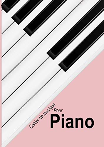 Piano: Cahier de partitions vierge pour piano, couleur Rose clair - papier manuscrit - 12 portées par page - 120 pages - Grand format - A4 Couverture piano stylisé Rose clair.