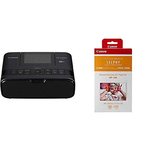 Canon Selphy CP1300 Fotodrucker 10x15 cm (mobiler Drucker, WLAN, USB, 300x300 DPI, optionaler Akku, Farbdisplay), schwarz & Druckerkartusche RP-108 und Papier für Selphy CP Fotodrucker Serie