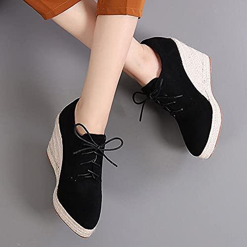 Alpargatas de Cuña para Mujer con Cordones de Gamuza Zapatillas de Tacón de Cuña Mocasines con Plataforma de Moda Zapatos para Caminar Zapatillas de Depor(Size:40 EU,Color:Negro)