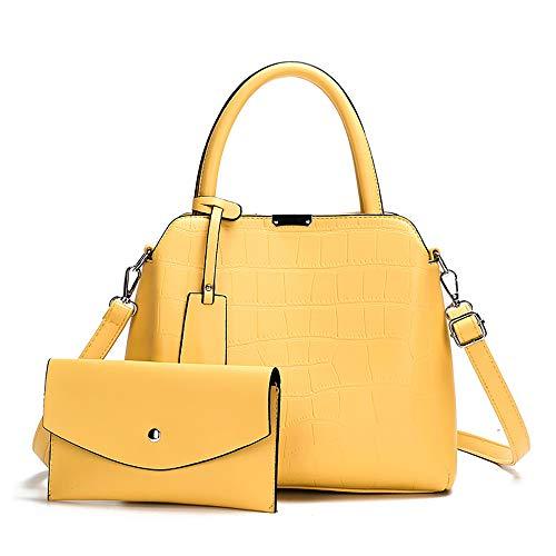 NIYUTA Bolsos bandolera mujer Bolsos de mano moda Bolsos totes bolsos pequeño casual Bolsos de hombro 2 piezas es176 Amarillo