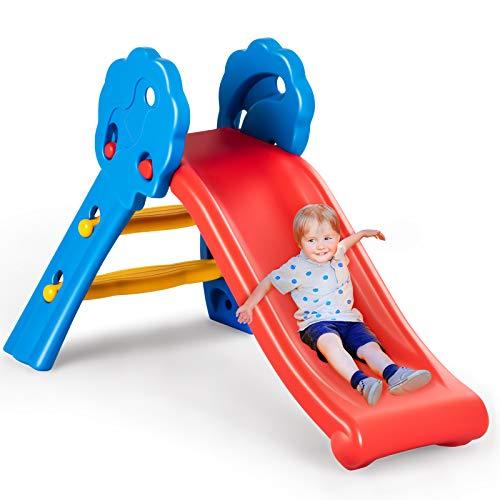 DREAMADE Kinder Rutsche Gartenrutsche mit Rutschfestem Pedal & Armlehnen, Rutschbahn mit Max.Belastung 50 kg, Kinderrutsche für Kinder von 3 bis 8 Jahren, für Garten Kinderzimmer Wohnzimmer (Modell 2)