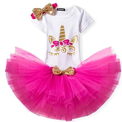NNJXD - Pelele con tutú para recién nacido, diseño de corona, 3 piezas, traje de flores, falda y diadema A-Rose 11- 18 Meses