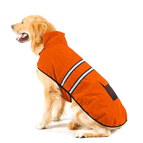 Ropa QYYdog otoño e Invierno Golden Retriever Labrador del Perro casero de algodón de la Ropa Reflectante con Pijamas de Cinta, tamaño: S, Busto: los 38-43cm, Cuello: 26-31cm (Naranja)