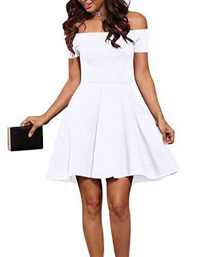 EZBELLE Womens Off Shoulder Dress Summer Short Sleeve Homecoming Cocktail Skater Dresses White X-Large