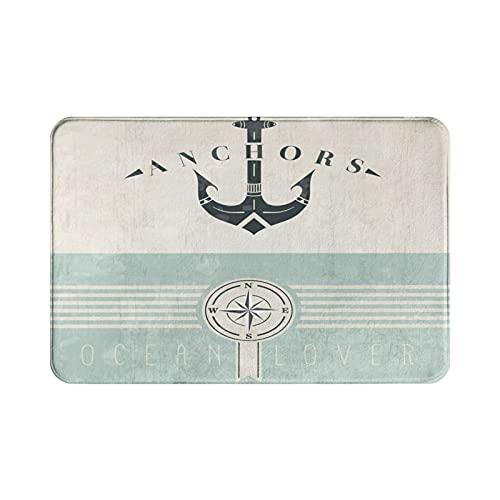 Vintage Nautical Anchor Themed Bath Mat Rug for Bathroom Floor Tub Soft Absorbent Memory Foam Kitchen Sink Rugs Non-Slip Washable Door Mat Indoor Entrance Accessories Decor